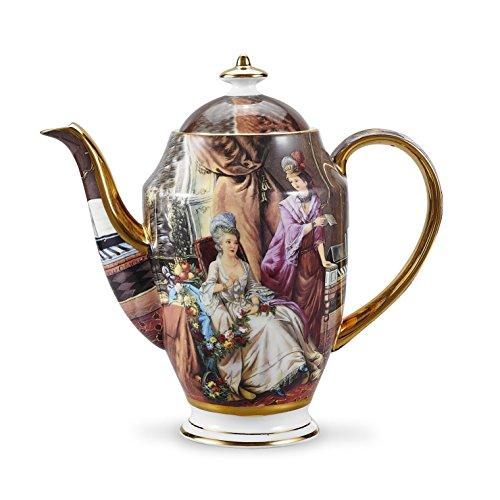 Panbado Bone China 95 Gold Rimmed 48 Ounce 1400ml Porcelain Teapot Coffee Pot Two Girls Oil Painting Figure 24×12×235cm
