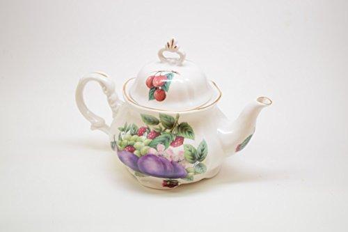 Royal Patrician Bone China Teapot Apple and Grapes Fruit Pattern Antique Design Purple Figs