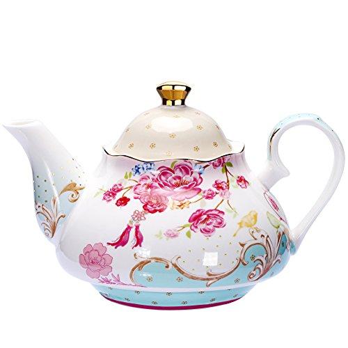 Teapot Bone China Tea Pot Vintage Royal Style Red Floral -4 Cup 850ml
