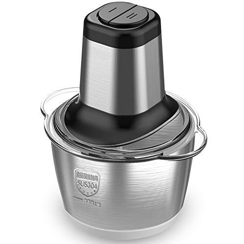 KINGChef Electric Food Chopper 8-Cup Food Processor by HomeleaderBowl Blender Grinder for Meat Vegetables Fruits and Nuts Fast Slow 2-Speed 4 Sharp Blades