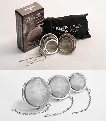 Elisabeth Nielsen 3 Piece Set Tea Ball Strainers Infusers Very Fine Mesh Balls Set of One Each Sm Med Lg Stainless Steel