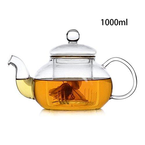 BleuMoo Heat Resistant Glass Teapot with Infuser Coffee Tea Leaf 1000ml