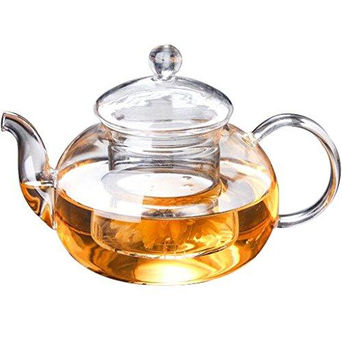 Lifelj Glass Teapot Heat Resistant Clear Tea Pot 250ml with Infuser for Tea