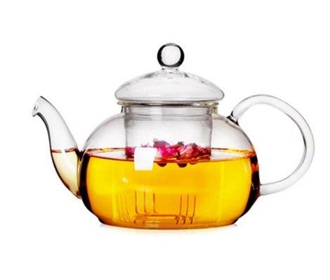 TEAlice 21 OZ Clear Heat Resistant Glass Teapot Infuser Tea Maker Teapot