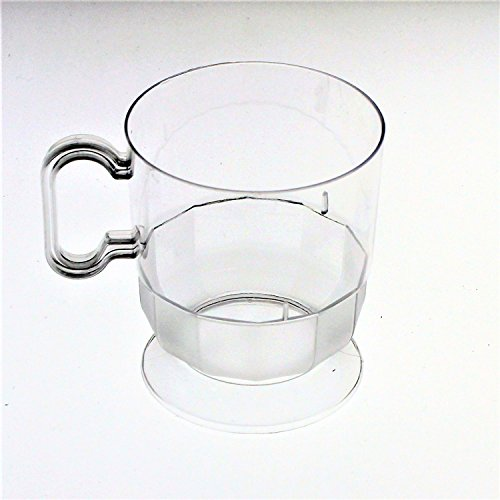 Exquisite Frosted Glass Look Premium Plastic Coffee Cups - 8 oz Coffee Mug - Clear Tea Cup - 40 - Count