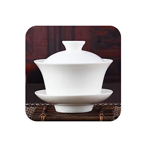 Chinese Gaiwan Tea Set Kung Fu White Ceramic Gaiwan White Teaware Sancai Tea Cup250ML