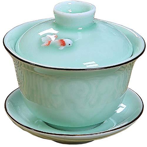 Chinese Portable Travel Tea Set Gongfu Gaiwan Ceramic Tea Set TGW10 fish