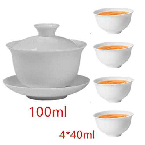 Gaiwan White Glaze Porcelain Teacup kung Fu Tea Service Set for Home Office Decoration
