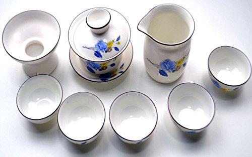 White and Blue Porcelain Chinese Gongfu Gaiwan Tea Set TS05 1