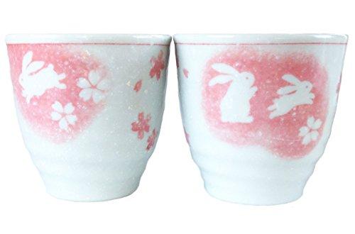 Japanese Ceramic Teacups Snow Dances Rabbit Cyerry Brossam 5 oz White Pink