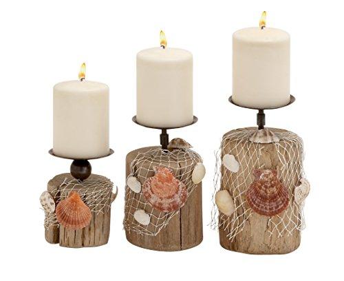 Benzara Wonderful Driftwood Candle Holder Set of 3