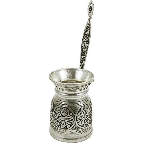 Handcraftideas100 Hand Made Engraved Sturdy Copper Turkish Greek Arabic Armenian Coffee Pot - Stovetop Coffee Maker Cezve Ibrik Briki with Brass Handle -118 fl Oz350ml- CP-107