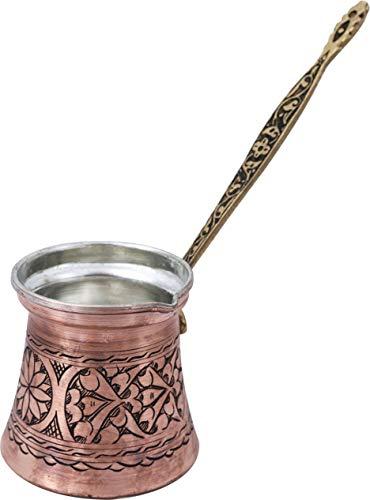 Handcraftideas100 Hand Made Engraved Sturdy Copper Turkish Greek Arabic Armenian Coffee Pot - Stovetop Coffee Maker Cezve Ibrik Briki with Brass Handle -13 fl Oz400ml- CP-104