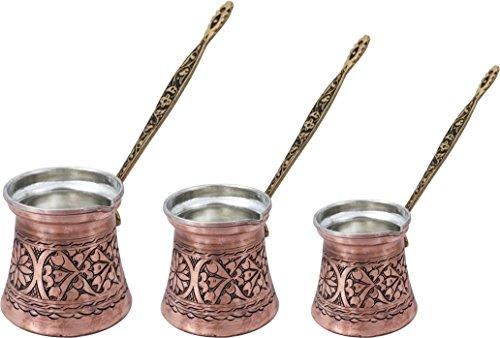 Heavy Duty Hand Made Engraved Copper Turkish Greek Arabic Armenian Coffee Pot SET - Stovetop Coffee Maker Cezve Ibrik Briki with Brass Handle - Small-51OzMedium-85OzLarge-135Oz - CPS-104