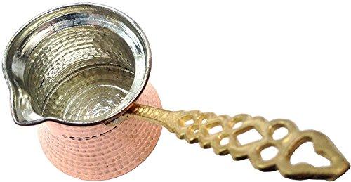 Myturkishmall Solid Copper Turkish Coffee Pot Brass Handle Cezve ibrik Coffee Maker Jezve Medium Size