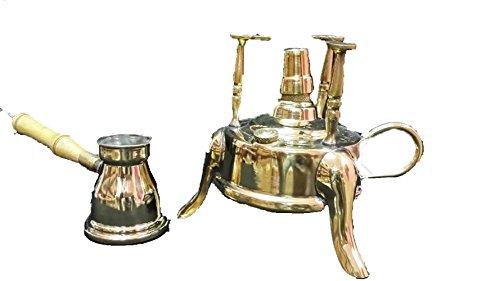 1handmade Brass Turkish Coffee Maker alcohol burner and 1 pot ibrik