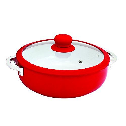IMUSA USA CHI-00071R 32Qt Red Ceramic Nonstick Caldero Dutch Oven with Silicone Rim Glass Lid