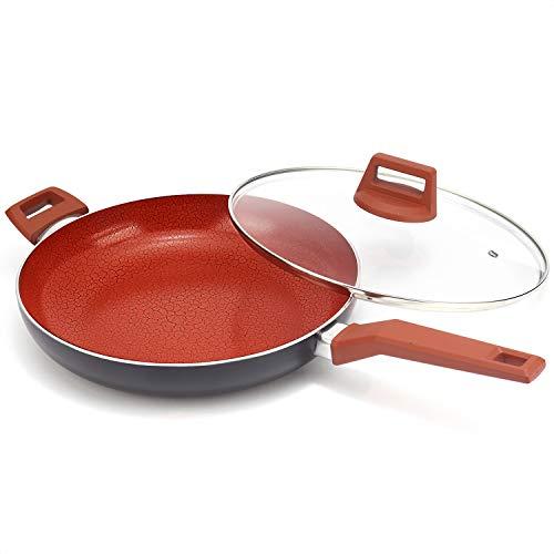 MICHELANGELO 12 Inch Ceramic Frying Pan Nonstick Ultra Nonstick Frying Pans with Non-toxic Ceramic Coating  Nonstick Skillet with Lid Ceramic Nonstick Pan 12 Inch Ceramic Induction Skillet - Red
