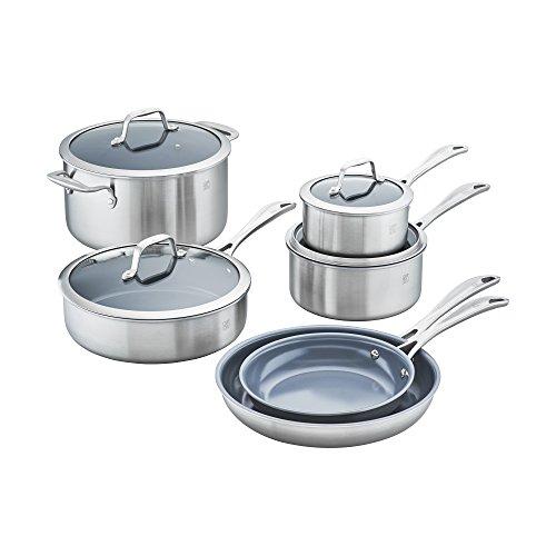 ZWILLING JA Henckels 64080-001 Spirit Ceramic Nonstick Cookware Set 10-pc Stainless Steel