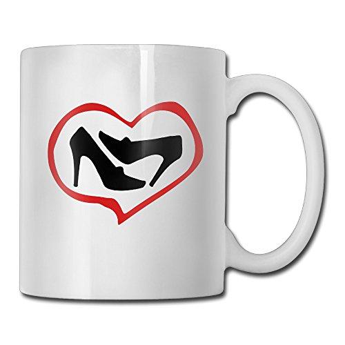Heart Womans High Heel Shoes White Mug Personalized Mug Design Ceramic CoffeeTeaMilk Mug