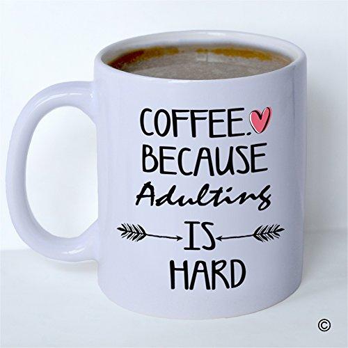 MsMr Custom White Mug 11oz - Personalized Mug Design - Coffee Because Adulting is Hard CoffeeTea Mug