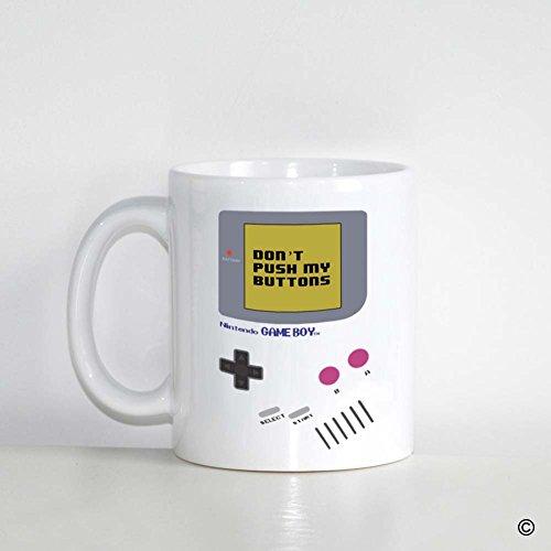 MsMr Custom White Mug 11oz - Personalized Mug Design - Nintendo Gameboy DonT Push My Buttons CoffeeTea Mug