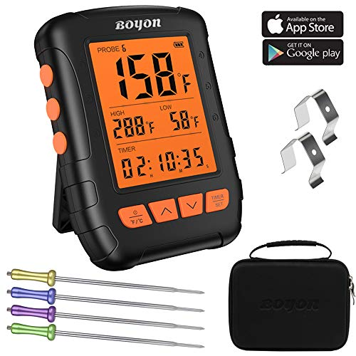 BOYON Meat Thermometer Waterproof APP Controlled Bluetooth Thermometer with 4 Stainless Steel Probes for Kitchen Oven Smoker Support IOS Android Carrying Case Included