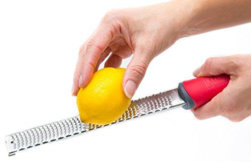 Premium Lemon Zester, Cheese And Spice Grater + Bonus Brush - Lime, Cheese, Ginger, Garlic, Nutmeg, Citrus, Spices