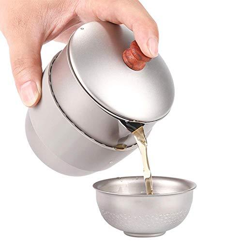 Teapot - Outdoor Camping Teapot Kettle Picnic Tea Maker Pot With Mesh Infuser Heat Insulation Rubber Sleeve Lightweight Portable Itanium Alloy Metal Tea Maker 300ml