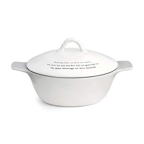 Family Glossy Classic White 10 x 9 Ceramic Stoneware Casserole Dish With Lid