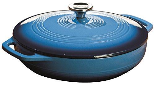 Lodge 36 Quart Enamel Cast Iron Casserole Dish with Lid Carribbean Blue