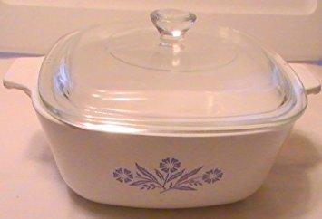 Vintage Corning Ware 3 Quart  Liter Casserole Dish with Lid Cornflower Blue Design A-3-B