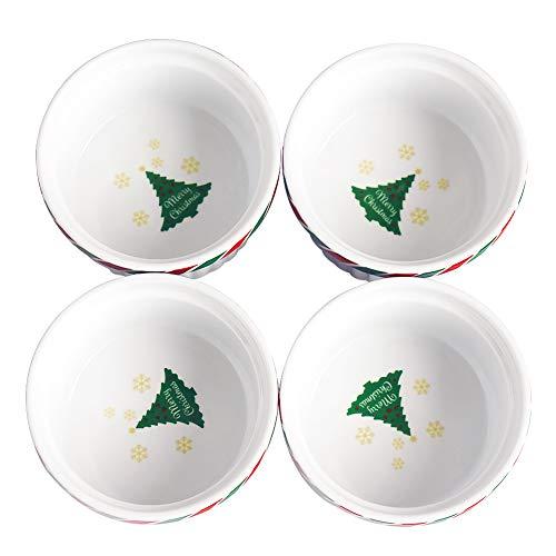 Cinf Colorful Porcelain 6 oz Ramekins Baking Cup Bowls DishesSet of 4-Soufflé Cups Dishes Creme Brulee Custard Cups DessertsOvenMicrowaveFreezer and Dishwasher Safe