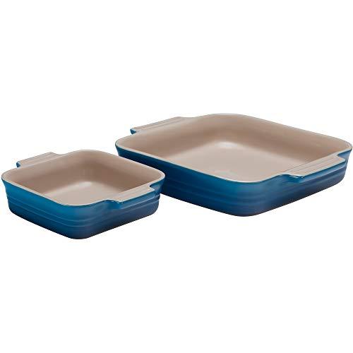 Le Creuset 2 Piece Marseille Blue Stoneware Square Casserole Dish Set