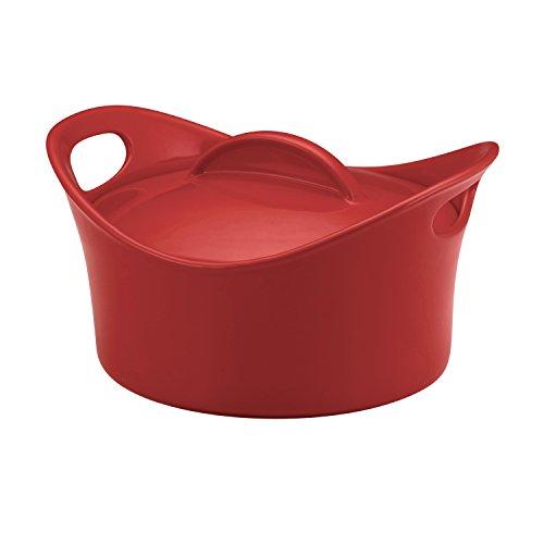 Rachael Ray Stoneware 275-Quart Casseround Covered Round Casserole Red