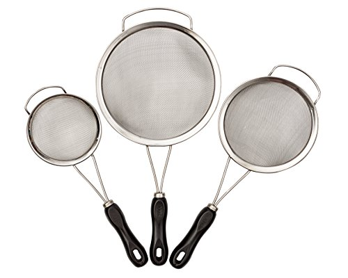 Strainers Set - 3 Piece Premium Stainless Steel - Fine Mesh With Thick Handles For Comfort - Best On Amazon!