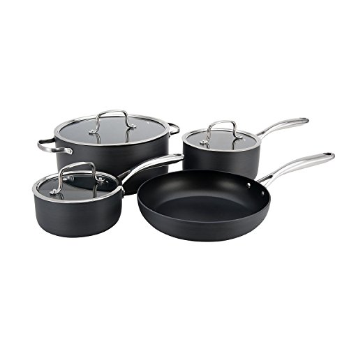 Hamilton Beach 7pc Hard Anodized Cookware Set Quantanium PFOA Free 3 Layer Non-Stick
