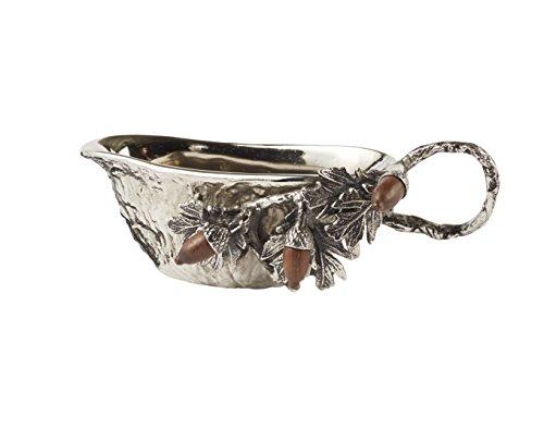 Mud Pie Acorn Metal Gravy Boat Silver