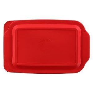 "Pyrex 3 Quart 9"" X 13"" Red Rectangular Plastic Lid 233-pc For Glass Baking Dish"