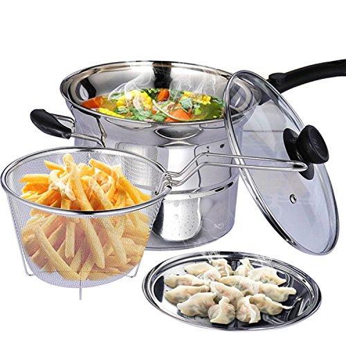 3 Quart Stainless Steel 3 Piece Pasta Pot Stockpot with Steamer Insert Boil Basket
