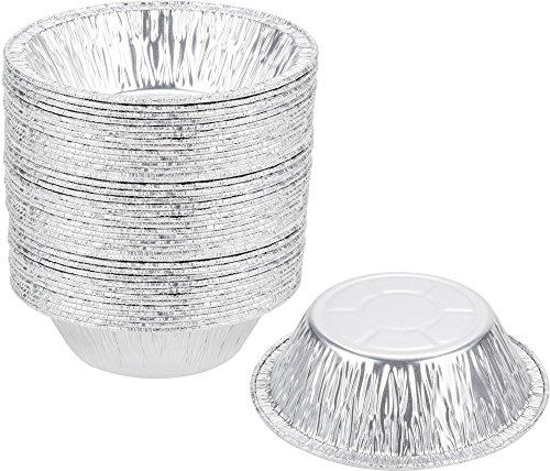 Paksh Novelty 5 Disposable Aluminum Foil Mini Pie Pans 50 Pack Small Tart Pans 5 x 2 ½