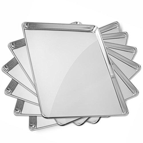 GRIDMANN 18 x 26 Commercial Grade Aluminum Cookie Sheet Baking Tray Pan Full Sheet - 6 Pans