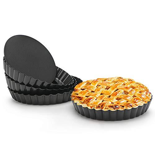 Quiche Pan Beasea 4pcs 6 Inch Non Stick Tart Pan Removable Bottom Mini Tart Pans Round Pie Pan