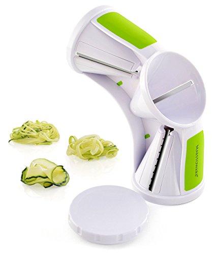 Maestoware Tri-Blade Spiral Slicer - Spiralizer Cutter Veggie Pasta Maker Cuts Zucchini Other Vegetables into Spaghetti Fettuccine Julienne Ribbons - Easy to Use