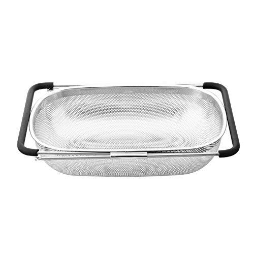 Premium Quality Stainless Steel Large Over the Sink Mesh Kitchen Strainer Colander Expandable Adjustable Rubber Grip HandlesDishwasher Safe for Rinse Drain Strain Fruits Vegetables PastaGreens