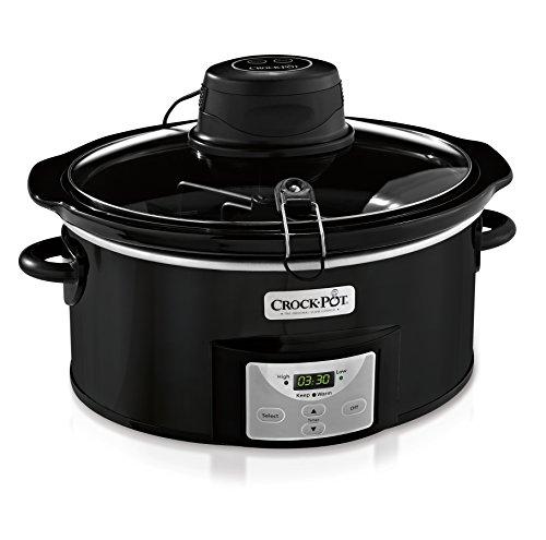 Crock-Pot 6Qt Black Oval Programmable Digital Slow Cooker wAuto Stir System SCCPVC600AS-B