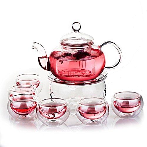 Jusalpha Glass Filtering Tea Maker Teapot with a Warmer and 6 Tea Cups Set glass tea set GB
