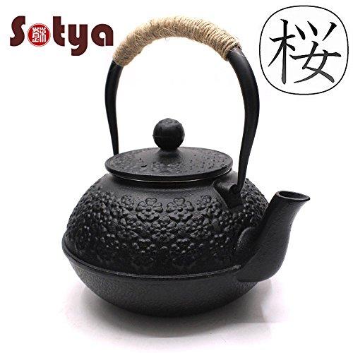Sotya Teapot Japanese Handmade Cherry Blossoms TeapotStainless Steel Infuser09LitreBlack