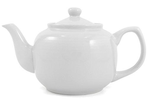 White Classic 8 Cup Ceramic Teapot