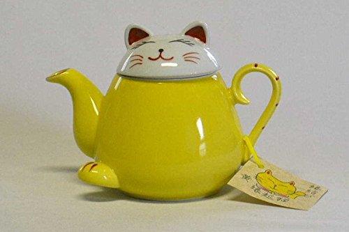 Takayama Pottery Yellow Beckoning cat Teapot HasamiYaki 340ml from Japan